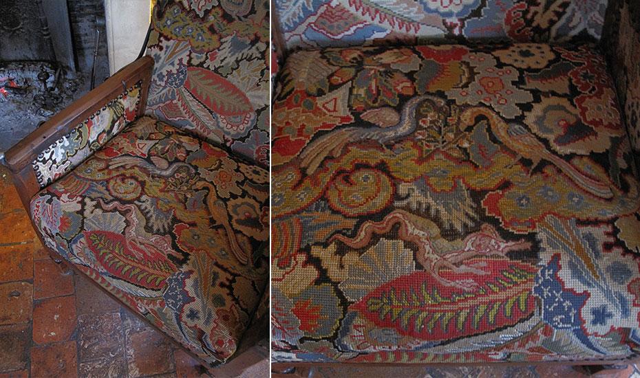 tapisserie au point pour un fauteuil LXIII d'époque