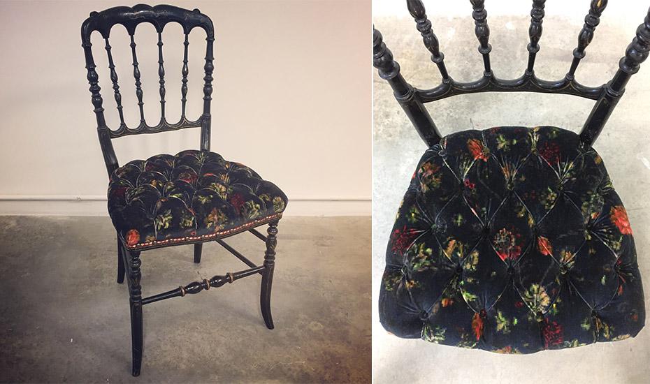 Petite chaise de style 2nd empire, garniture capitonnée à l'ancienne au crin animal